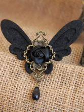 Lolitashow ロリータアクセサリー,ブローチ ブラック ゴシック 蝶々 チョウチョ 高品質