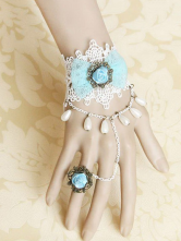 Lolitashow Gothic Light Sky Blue Bow Cotton Blend Lolita Bracelet