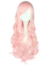 Lolitashow Light Pink Lolita Long Wig Curls Rayon Sideswept Bangs