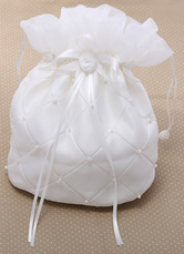 Pearls Ecru White Wedding Handbag for Brides