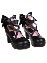Lolitashow Sweet Platform Heels Lolita Shoes Ankle Straps Round Toe