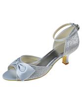 chaussure argente petit talon,Chaussures Femmes Chaussure De Mariee Argent  Satin ace2b0dd14b1