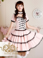 Lolitashow Sweet Lolita Dress OP Princess Pink Tiered Lace Cotton Lolita One Piece Dress
