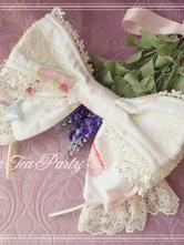 Lolitashow Sweet White Cake Print Lolita Headbow Lace Trim