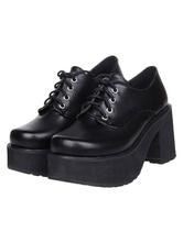 Lolitashow Gothic Black Lolita Square Heels Shoes Platform with Shoelace