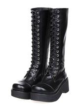Lolitashow Gothic Black Lolita Boots Platform Shoelace Zip Designed