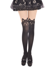 Lolitashow Black Velvet Lolita Thigh High Socks Cute Cats Print