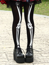 Lolitashow Gothic Black Nylon Lolita Tights White Skeleton Print
