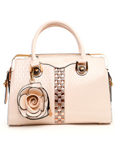 White Flower PU Leather Chic Womens Cross Body Tote Bag-No.1