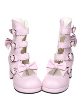 Lolitashow Dandy Pink Round Toe PU Leather Street Wear Lolita Shoes