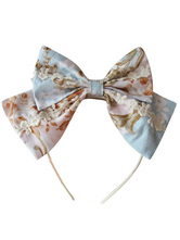 Lolitashow Lovely Cotton Lolita Headbow Printed White Trim