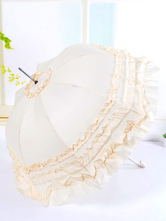 Lolitashow Sweet Beige Lolita Parasol Umbrella Multi-layered Ruffles Dual-use