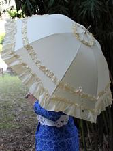 Lolitashow Sweet Beige Lolita Parasol Umbrella 3-layered Ruffles Dual-use