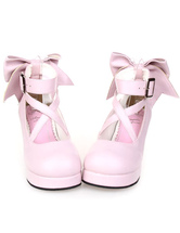 Lolitashow Sweet Platform Heels Lolita Shoes Ankle Straps Bow Deco Round Toe