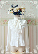 Lolitashow White Chiffon Lolita Blouse Long Sleeves High Collar Big Bow Tie Lace Trim