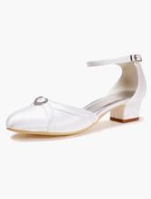 chaussures de mariage blanches talon pais avec strass - Chaussure Compense Mariage