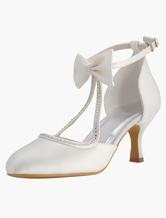 chaussures de marie en satin avec strass et nud chaussures mariage - Chaussure Compense Mariage