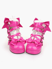 Lolitashow Glossy Rose Red Lolita Chunky Heels Shoes Ankle Straps Heart Shape Buckles Bows Decor