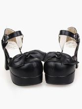 Lolitashow Lovely PU Leather Black Lolita Sandals