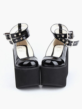 Lolitashow Lovely Black Round Toe PU Leather Daily Casual Lolita Shoes