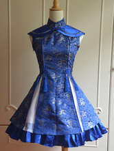 Lolitashow Classic Blue Qi Lolita Dress Sleevesless Lace Up Print Satin