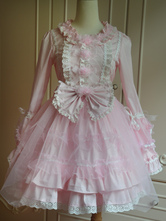 Lolitashow Sweet Pink Cotton Lolita One-piece Dress Long Sleeves Lace Surface Bows