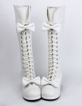 Lolitashow Sweet Matte White Lolita Boots Square Heels Shoelace Bows Decor