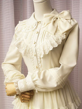 Lolitashow Off White Lolita Blouse Long Sleeves Lace Trim Bow Ruffles