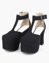 Lolitashow Black Microfiber Platform Lolita Shoes for Girls