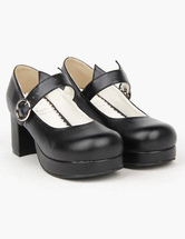 Lolitashow Black Round Toe PU Lolita Shoes for Girls