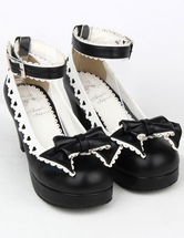 Lolitashow Matte Black Lolita Chunky Heels Shoes White Trim Bow Decor Ankle Strap Buckle Round Toe