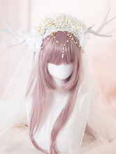 Lolitashow White Beaded Flowers Synthetic Lolita Headdresses for Girls