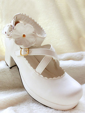 Lolitashow White Flower PU Lolita Heels for Girls