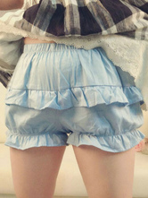 Lolitashow Light Blue Lolita Bloomers Ruffles Cotton Lolita Shorts For Women