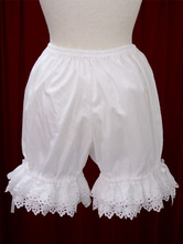 Lolitashow White Cotton Lolita Bloomers Hollow Trim Bow Ribbon
