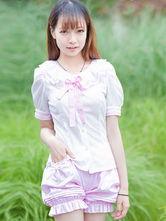 Lolitashow Pink Ruffles Bows Cotton Lolita Shorts for Women