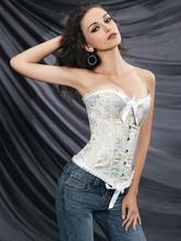 Lolitashow White Strapless Bows Silk-like Sweet Printed Lolita Corset For Women