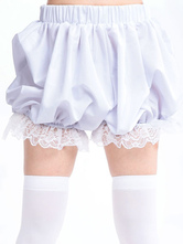 Lolitashow Sweet White Light Orange Blue Lolita Bloomers Lace Trim Ruffles