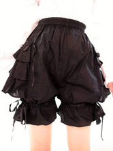 Lolitashow Sweet Black Pink Lolita Bloomers Layered Ruffles Bow Ribbon
