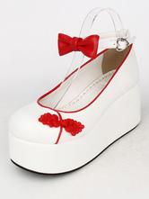 Lolitashow Two-Toned Bows PU Lolita Shoes for Women