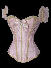 Lolitashow Pink Straps Bows Beading Chain Silk- Like Lolita Corset For Women