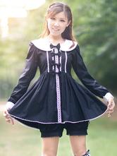 Lolitashow Black Lolita Bloomers Ruffles Cotton Lolita Shorts For Women