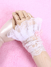 Lolitashow White Chic Bows Lace Synthetic Lolita Gloves