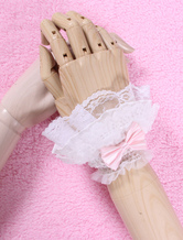 Lolitashow White Bows Lace Synthetic Lolita Gloves