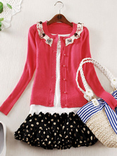 Lolitashow Watermelon Print Cotton Blend Lolita Cardigan for Women