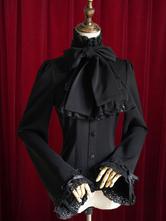 Lolitashow Black Lolita Blouse Bow Slim Fit Cotton Blouse for Women