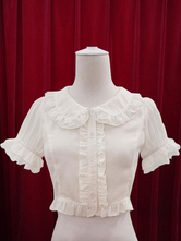 Lolitashow White Lolita Blouse Ruffles Cotton Blouse for Women