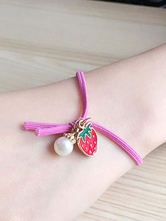 Lolitashow Multicolor Lolita Bracelet Strawberry Pattern Synthetic Bracelet for Women