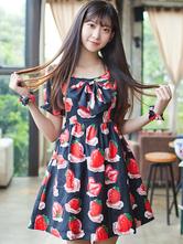 Lolitashow Print Lolita Dress Multicolor Bow Synthetic Dress