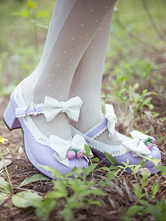 Lolitashow Lavender Lolita Pumps Strawberry Bow PU Heels for Women